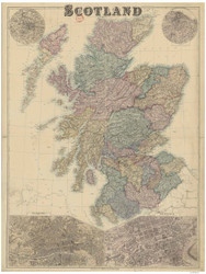 Scotland ca1880 Bacon - Old Map Reprint