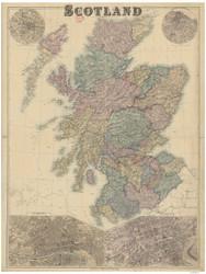 Scotland ca1880 Bacon - Old Map Reprint