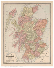 Scotland 1883 Cram - Old Map Reprint