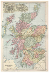 Scotland 1891 Appleton - Old Map Reprint