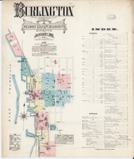 Burlington, VT Fire Insurance 1885 Sheet 1 (Index) - Old Town Map Reprint - Chittenden Co.