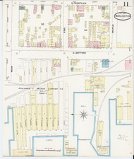Burlington, VT Fire Insurance 1889 Sheet 11 - Old Town Map Reprint - Chittenden Co.