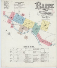 Barre, VT Fire Insurance 1894 Sheet 1 - Old Town Map Reprint