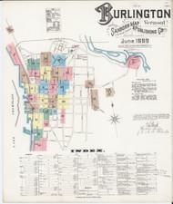 Burlington, VT Fire Insurance 1889 Sheet 1 - Old Town Map Reprint