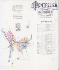 Montpelier, VT Fire Insurance 1889 Sheet 1 - Old Town Map Reprint