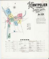 Montpelier, VT Fire Insurance 1894 Sheet 1 - Old Town Map Reprint