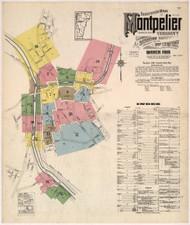 Montpelier, VT Fire Insurance 1915 Sheet 1 - Old Town Map Reprint