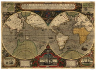1595 World Map by Hondius & Power