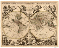 1694 World Map by Jaillot