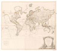 1786 World Map by Delamarche