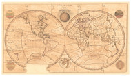 1800 World Map by Wallis