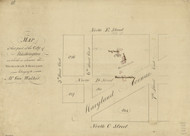 13 Walker Maryland Ave 1796 Washington DC Block Map - Old Map Reprint