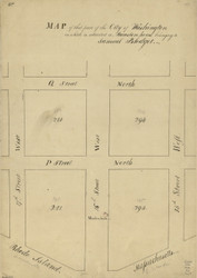 14 Blodget 16th St W 1796 Washington DC Block Map - Old Map Reprint