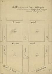 14 Blodget 16th St W 1796 Washington DC Block Map - Old Map Reprint