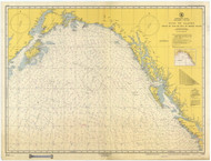 Strait of Juan De Fuca to Kodiak Island 1952 Nautical Chart 2,100,000 Scale  Alaska Chart 8500