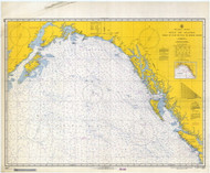 Strait of Juan De Fuca to Kodiak Island 1966 Nautical Chart 2,100,000 Scale  Alaska Chart 8500
