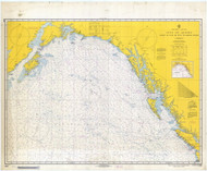 Strait of Juan De Fuca to Kodiak Island 1967 Nautical Chart 2,100,000 Scale  Alaska Chart 8500