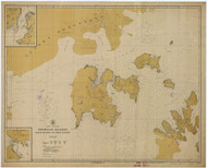 Shumagin Islands, Nagai Island to Unga Island 1918 Nautical Chart 100,000 Scale  Alaska Chart 8700