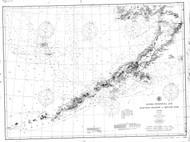 Alaska Peninsula and Aleutian Islands 1908 Nautical Chart 1,200,000 Scale  Alaska Chart 8800