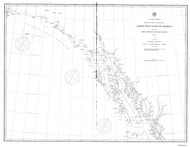 Dixon Entrance to Cape St. Elias 1880 Nautical Chart 1,200,000 Scale  Alaska Sailing Chart 701