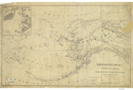 North Western America 1867 Nautical Chart 5,000,000 Scale  Alaska Sailing Chart 960