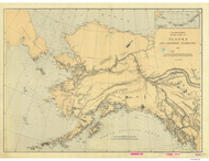 Alaska and Adjoining Territory 1869 Nautical Chart 3,417,398 Scale  Alaska Sailing Chart 960
