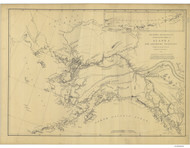 Alaska and Adjoining Territory 1875 Nautical Chart 3,763,953 Scale  Alaska Sailing Chart 960