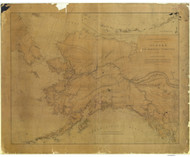 Alaska and Adjoining Territory 1884 Nautical Chart 2,924,308 Scale  Alaska Sailing Chart 960