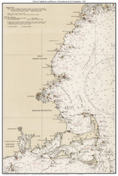 Chart of Lighthouses and Beacons - Massachusetts & New Hampshire 1935 - Old Map Custom Print Big Area 50-52