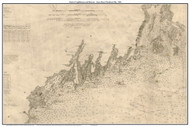 Chart of Lighthouses and Beacons - Casco Bay to Penobscot Bay 1881 - Old Map Custom Print 400,000