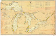 Great Lakes 1933 - Old Map Reprint Nautical Chart LS0