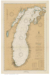 Lake Michigan 1915 - Old Map Nautical Chart Custom Print