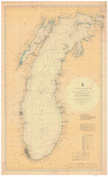 Lake Michigan 1900 - Old Map Nautical Chart Reprint LS7
