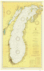 Lake Michigan 1923 - Old Map Nautical Chart Reprint LS7