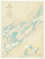 Whiskey Island to Bartlett Point 1940 St Lawrence River Nautical Chart Reprint 16 NY/Ontario