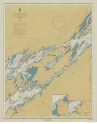 Whiskey Island to Bartlett Point 1946 St Lawrence River Nautical Chart Reprint 16 NY/Ontario