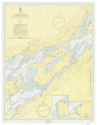 Whiskey Island to Bartlett Point 1953 St Lawrence River Nautical Chart Reprint 16 NY/Ontario