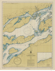 Bartlett Point to Cape Vincent 1946 St Lawrence River Nautical Chart Reprint 17 NY/Ontario