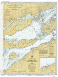 Bartlett Point to Cape Vincent 1986 St Lawrence River Nautical Chart Reprint 17 NY/Ontario