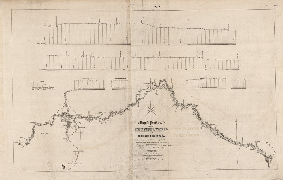 Pennsylvania And Ohio Map.Proposed Canal From Akron Ohio To Ohio Erie Canal In Pennsylvania