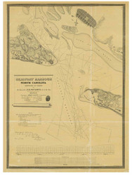 Beaufort Harbor, North Carolina, 1839 - Old Map Reprint - 1843 Regional Section 2