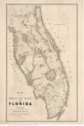 Seat of War in Florida, 1838 - Old Map Reprint - 1843 Regional Section 3