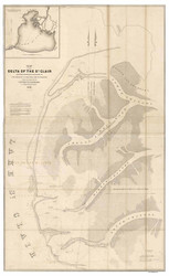 Delta of Lake St. Clair, Michigan, 1842 - Old Map Reprint - 1843 Regional Section 5
