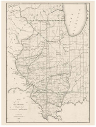 Illinois with parts of Indiana and Washington, 1836 - Old Map Reprint - 1843 Regional Section 6