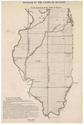 Diagram of the State of Illinois, 1839 - Old Map Reprint - 1843 Regional Section 6