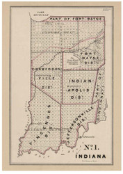 Indiana - Land Office Map, 1843 - Old Map Reprint - 1843 Regional Section 7
