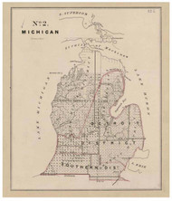 Michigan - Land Office Map, 1843 - Old Map Reprint - 1843 Regional Section 7