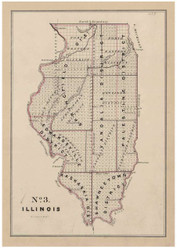 Illinois - Land Office Map, 1843 - Old Map Reprint - 1843 Regional Section 7