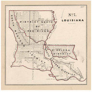 Louisiana - Land Office Map, 1843 - Old Map Reprint - 1843 Regional Section 7
