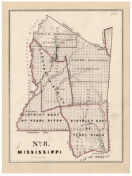 Mississippi - Land Office Map, 1843 - Old Map Reprint - 1843 Regional Section 7